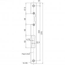 Protiplech plochý 24/270/3 mm pre elektrický otvárač dverí