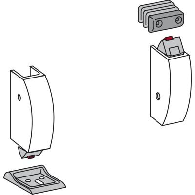 Horný a spodný uzáver PHA 03, vrátane rámových protikusov, strieborný