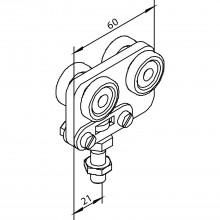 Závesný vozík SOLIDO 80 pre kovanie skladacích dverí, plast/pozink. oceľ