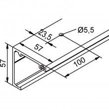 Pojazdová koľajnica HELM GT-L, montáž na strop, na mieru, strieborne elox.hliník