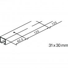Pojazdová koľajnica GM pre montáž na strop EKU-PORTA 100-GH 2500 mm, str. elox.