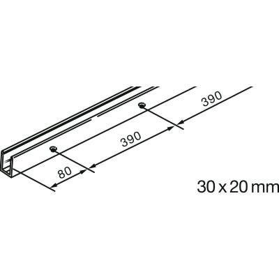 Vodiaca koľajnica U EKU Porta 2 500 mm, strieborne eloxovaná