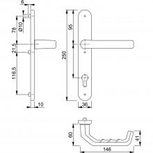 Interiérová kľučka, bronzová