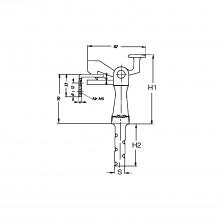 Držiak pre vráta veľ.1, viditeľná dĺžka 105mm,montáž do podlahy,čierny lakovaný
