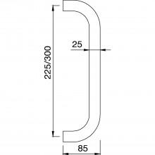 KWS madlo 8758 - 325mm, rozteč 300mm, ø 25mm,ušľ. oceľ matná