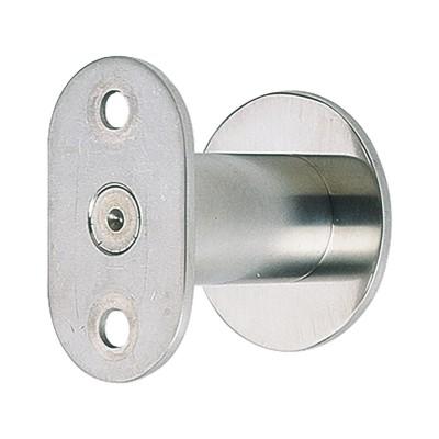 Držiak zábradlia plochý, rozeta ø50mm, vzdialenosť od steny 50–65mm, strieb.elox