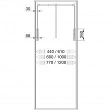 Sklopná šatníková tyč Junior, V:850,Š:440-610, nos.10kg, plast čierny/FE ponikl.