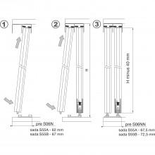 Salu súprava koliesok S55A, pre profil S15 a S20