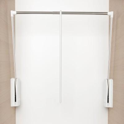 Sklopná šatníková tyč Junior, V:850,Š:600-1000, nos.10kg, plast biely/FE ponikl.