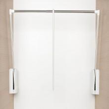 Sklopná šatníková tyč Junior, V:850,Š:770-1200, nos.10kg, plast biely/FE ponikl.