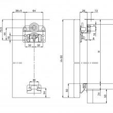 SOLIDO Domino súprava kovania na posuvné dvere, 3-krídlové, hrúbka dreva 22-28mm