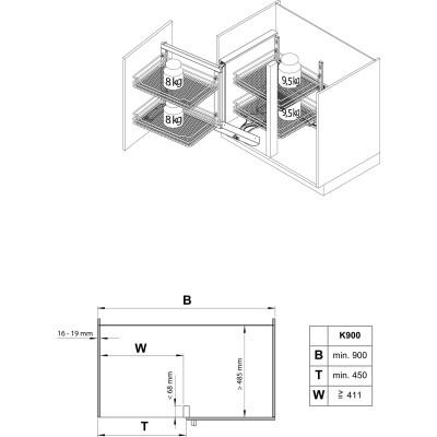 VS COR Fold otočno-výsuvné kovanie roh.skrinka P, šk900mm, RAL 9006