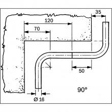Držiak na rolky 325 x 365 x 155 mm, antikorový efekt