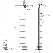 Hotový stĺpik pre mont. na podlahu, 958 mm, vrát. 6 držiakov traverzy, ant. V2A
