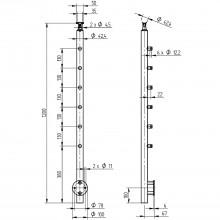 Hotový stĺpik pre mont. na stenu, 1200mm, vrát. 6 držiakov traverzy, antikor V2A