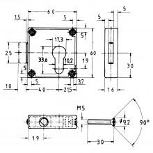 JuNie 7401 Cylindrický trojcestný zámok pre profilový polcylinder, ponikl. zamak