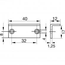 Plechové vodiace uholníky 40 x 17 x 12 mm, poniklovaná oceľ