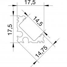 Hliníkový rohový profil YT04, 3000mm, eloxovaný, bez krytu