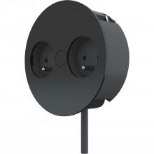 Zabudovaná elektrická zásuvka TWIST 2Z, 230 V, 2 zásuvky STN/ČSN, čierna RAL9005