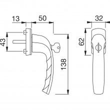 Okenná kľučka Okenná kľučka New York uzamykateľná, rast.90°, štvorhr. 7x35 mm, strieborný elox