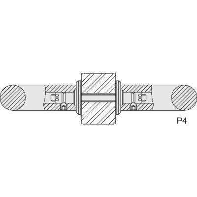 KWS upevňovacie príslušenstvo P3 - párové na sklo, M 8 x 55, ušľachtilá oceľ