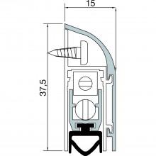 Výsuvné dverové tesnenie 1750, šírka 15 mm, výška 37,5 mm, dĺžka 1230 mm