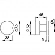 Dverový gombík plochý tvar solido, ø 50,5 mm, osadený závitom M5, matný antikorový