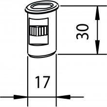 Podlahové puzdro zapustené ø 17 mm, výška 30 mm, oceľ pozinkovaná