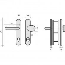Bezp.kovanie guľa-kľučka KIEL dl.štítok PZ92 hr.dv.voliteľná s prekr.vložky RC2