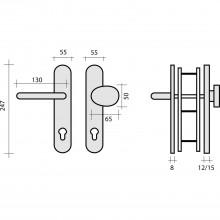 Bezp.kovanie guľa-kľučka NEW YORK dl.štítok PZ88,ľavé,hr.dv.voliteľná,ušľ.oceľ