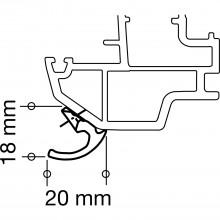 Úchytka balkónových dverí, 65 mm, tmavohnedý hliník RAL 8077