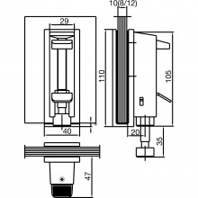 Obmedzovač dverí na sklo DORMA, zdvih 35 mm, sklo 8–12 mm, strieb. elox.