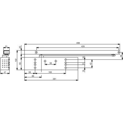 Dverový zatvárač TS 92B G-N, EN 1-4, 1-kríd. s klznou lištou, strieborný