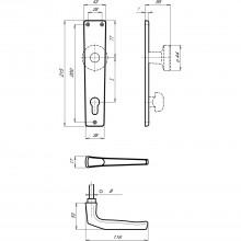 Súprava kľučiek model Europa s dlhým štítkom PZ 88 mm, strieborný elox