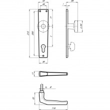 Súprava kľučiek model Europa s dlhým štítkom WC 90 mm, strieborný elox