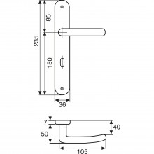Súprava kľučiek Alt-Wien s dlhým štítkom BB 90 mm bez krytu kľúčovej dierky