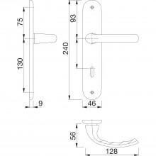 Súprava kľučiek Tôkyo s dlhým štítkom BB 90 mm,efekt ušľachtilej ocele