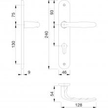Súprava kľučiek Tokyo s dlhým štítkom PZ 88 mm,efekt ušľachtilej ocele