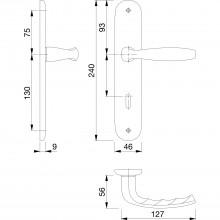 Súprava kľučiek New York s dlhým štítkom BB, hliník strieborne eloxovaný