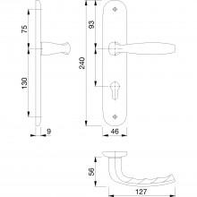 Súprava kľučiek New York s dlhým štítkom PZ, hliník strieborne eloxovaný