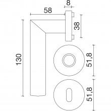 Súprava kľučiek ALMERIA na rozete, PZ, hr.dverí 35-45, chróm matný/lesklý