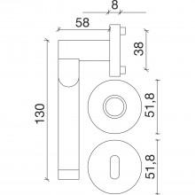 Súprava kľučiek SEVILLA na rozete, WC, hr.dv.35-45,mos. PVD-nikel matný