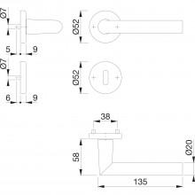 Súprava kľučiek Amsterdam s rozetami BB, hrúbka dverí 37-42 mm, strieb.elox