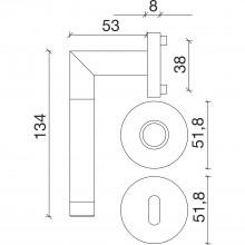 Súprava kľučiek RIO na rozete, WC, hr.dverí 35-45, lesklý chróm-ušľ.oceľ