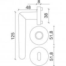 Súprava kľučiek GENF na rozete, BB, hr.dverí 35-45, pochrómovaná lesklá