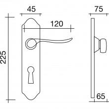 Súprava kľučiek KÖLN na dlhom štítku, WC90,mosadz patinovaná