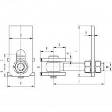 Bránový záves na privarenie nastaviteľný, dĺžka 105 mm, lesklá/pozinkovaná oceľ
