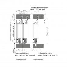 Dvojitá koľajnica SCHÜCO, dolná, 4 x 29 mm, eloxovaný hliník