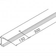 EKU COMBINO 20/35 H jednoduchá koľajnica, dierovaná, na mieru, hliník