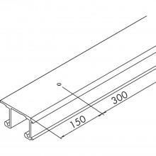 EKU COMBINO 20/35 H dvojitá koľajnica, dierovaná, na mieru, hliník